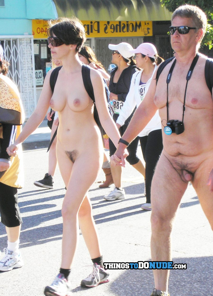 Hot gold digger nudist holds hands with much older boyfriend